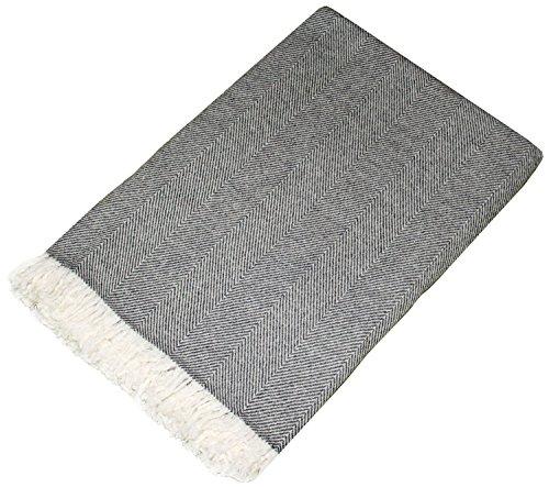 Lorenzo Cana - Coperta di lana, 100% cachemire, copriletto, copridivano o plaid, elegante e comoda, colore: grigio scuro e bianco