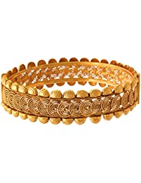 JFL - Traditional Ethnic One Gram Gold Plated Designer Openable Bangle Kada For Girls & Women