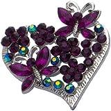Jodie Rose Amethyst Colour Crystal Heart Brooch
