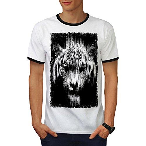 Schatten Geist Tiger Tier Dschungel Jagd Herren L Ringer T-shirt | Wellcoda (Türkei-jagd-t-shirt)