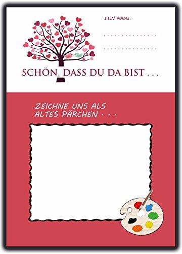 Hochzeitsspiele 52-Wochenspiel Postkarten + lustige Fragen für Gäste Schön, dass Du da bist - Stilvolle Karte Lustige Postkarte-buch