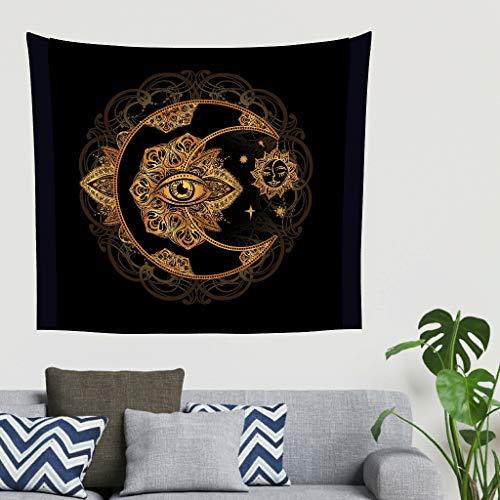 O5KFD&8 Gold Mond Sonne Muster Tapisserie schön Groß Wandbehangteppiche - Mandala für Wandtuch White 230x150cm