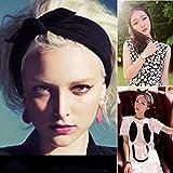 Frcolor Hasenohren Haarreif Frauen verknotet Bogen Stirnband Fashion Haarband (schwarz)