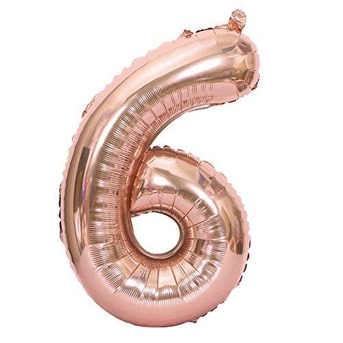 TIREOW 40 Zoll Rose Gold Number 0-9 Folie Digital Ballons für Geburtstagsfeier (G)
