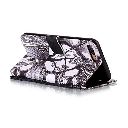 Etsue Handytasche für iPhone 7 Plus (5.5 Zoll) 2016 schwarz, Brieftasche Hülle für iPhone 7 Plus (5.5 Zoll) 2016 [Sonnenblume] Muster Lederhülle Handyhülle Einzigartig Flip Hülle Leder Schutzhülle Vin Zeichnung Baum