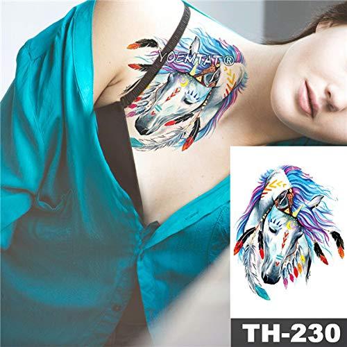 tzxdbh Impermeable Etiqueta engomada del Tatuaje del Bosquejo Animales patrón Cabezas de Tres Lobos Arte Corporal Transferencia de Agua Tatoo-en Tatuajes de 14