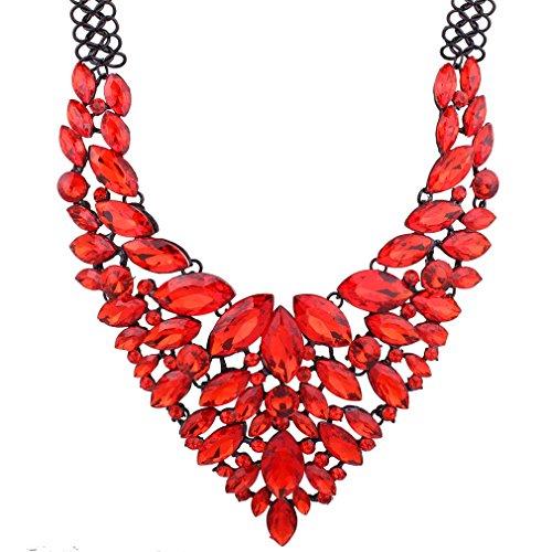 Yazilind Rote Farben-handgemachte Kristallkragen-Choker-Halskette Elegante V-Form mit glänzenden Glaskornen für Frauen-Schmucksachen