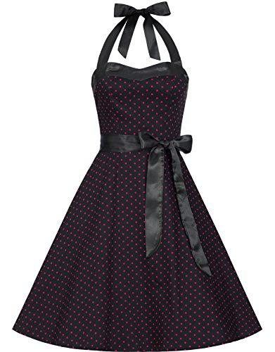 Zarlena Damen Rockabilly Kleid Polka Dots Punkte Tupfen Retro 50er Neckholder Navyblau mit pinken Dots M Schwarz / Pink mit kleinen Dots 616-M