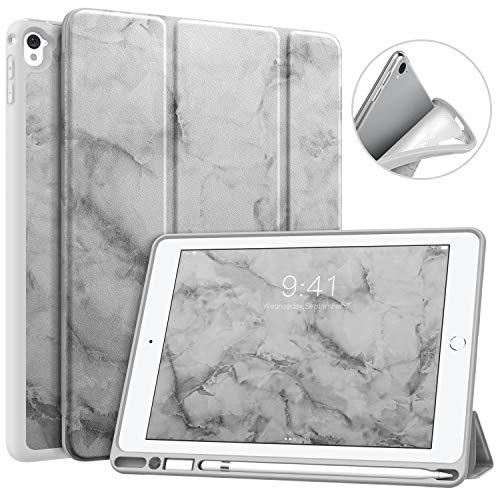 MoKo Hülle Passend für iPad Pro 9.7, Weich Slim Ledertasche mit Auto Sleep/Wake up Funktion & Standfunktion Stift Steckplatz - Dunkelgrauer Marmor