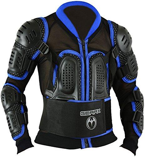 Kinder Motocross Rüstung Rücken Motorrad Schutz Jacke - Blau, S - Mädchen Motocross Handschuhe