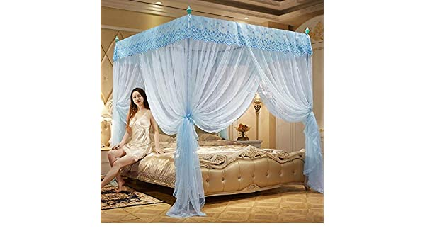 kki78f Summer mosquito nets Three door palace square top mosquito nets Princess floor stainless steel mosquito nets Wholesale mosquito nets yellow 22 bracket 1.5 meter bed 5 foot