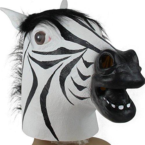 Brave Cosplay Kostüm - Brave Pioneer Halloween Lustig Maske Zebra Latex Deko Animals Maske Pferd Horse Vollmaske Unisex Kostüm Party Karneval Cosplay (schwarz und weiß)