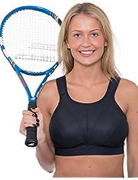 Sujetador deportivo Gemm de talla grande para mujeres en color negro, sin aros, de gran impacto para pecho grande