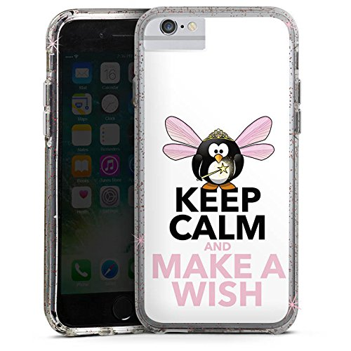 Apple iPhone 6 Bumper Hülle Bumper Case Glitzer Hülle Keep Calm Phrases Sprüche Bumper Case Glitzer rose gold