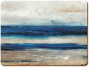 """Creative Tops Set da 4 tovagliette all'americana in legno di sughero, blu, tema astratto:""""vista oceano"""""""