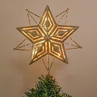 Valery Madelyn Estrella de Cinco Puntas Árbol de Navidad, Adornos Copa del árbol de Navidad de Metal, Decoraciones de Navidad Funciona con Batería No Incluida
