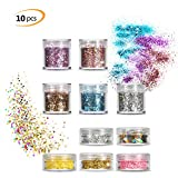 10 Boxs Face Glitter Set, Phogary Multicolour Chunky Glitter (10 Colors, 4 Different style Shapes Festival Set) for Cheeks/Bodies / Hair Kosmetik Glitter Nails Paillette Glitter