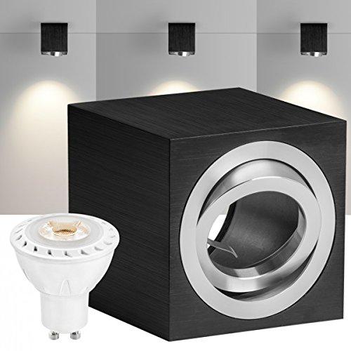 led-faretto-set-cube-nero-con-led-gu10-faretto-marca-von-ledando-7-w-cob-lampadina-bianco-caldo-30-a