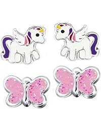 Juego de 2parejas de pendientes SL-Silver de unicornios y mariposas rosa, de plata 925 brillante, en caja de regalo