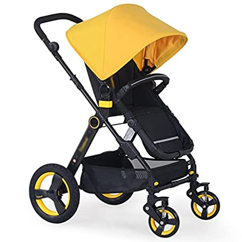 Baby trolley Child Baby Stroller High Landscape Can Sit Back To Shock Folding Stroller Foldable Baby Stroller for Kids ( Color : Yellow )