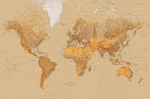 Fototapete MAP OF THE WORLD 175 x 115 cm, Weltkarte, Giant Art Poster, 1-teilig (World Wandbild Map Giant)