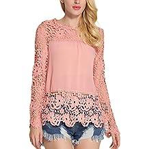 Minetom Mujer Elegante Manga Larga Hueco Encaje Camiseta Casual Cordón Delgado Color Sólido Blusa Floral Crochet