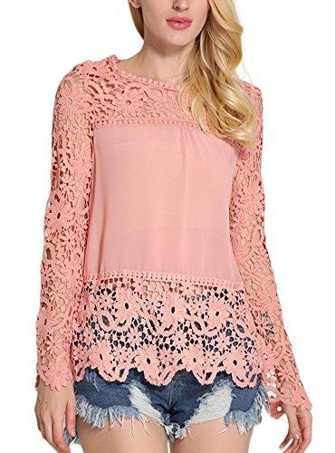 Minetom Femme Col Rond Manches Longues Blouse Dentelle Crochet Hauts Chemise Élégant Creux Shirt Rose