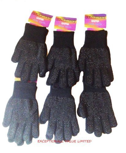 MAGIC GRIPPER GLOVES BLACK 6 PAIRS MENS LADIES ADULT ONE SIZE -NEW- FREE UK P&P by EXCEPTIONAL VALUE Womens Gripper Gloves