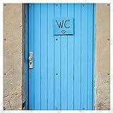 Wallario XXL Garten-Poster Outdoor-Poster - Blaue Tür Einer Toilette in Einer verlassenen Fabrik in Magdeburg in Premiumqualität, für den Außeneinsatz geeignet