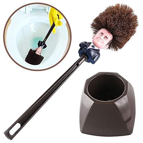 Mobi Lock Balai Toilettes Emmanuel Macron - Brosse WC Originale pour le Ménage des Toilettes - Brosse Amusante Tête du Président avec Support et Rangement - Cadeau Humoristique - Marron