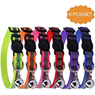 BINGPET 6PCS Reflective Adjustable Cat Collars Safety Quick Release with Bell