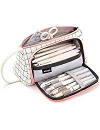 Trousse à Crayons Grande Capacité Porte-crayons à Stylos Trousse à Maquillage Organisateur de Rangement de Fournitures avec Poignée pour Fournitures de Bureau pour le Collège (Blanc à Carreaux)