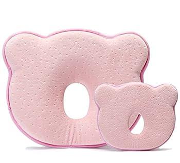 Baby-memory-schaumstoff-kissen, Romanstii Weich Waschbar Baumwolle Säuglinggs Kopf Unterstützung Verhindert Flachen Kopf Für 0-18 Monate Baby Neugeborene (10.24 '' X 8.76 '' X 1.38 '', Rosa) 0