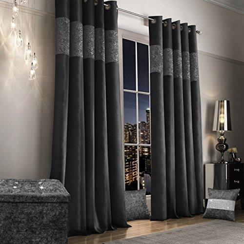 Luxus Vorhänge Kunstseide Crushed Velvet anthrazit grau Paar Vorhänge, Kunstseide, 66 x 90 - Velvet Vorhänge