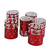 6er Pack LED Teelicht Halter Papier Kerzenhalter Halter für Teelichter Gartenlicht Windlicht Weihnachten Wohnung Zimmer Deko Tischdeko (Rot)