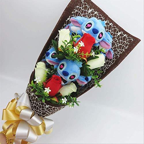 TYKCRt Giocattoli di Peluche a Punto Kawaii, Peluche a Forma di Bambola di Peluche Anime, Confezione Regalo Bouquet Regali di Compleanno di San Valentino Blu-3