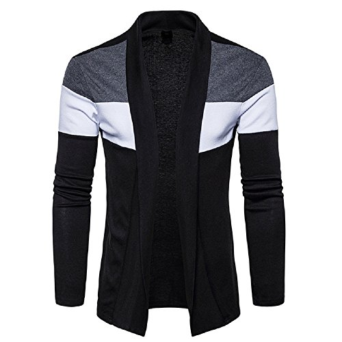 DENIMHOLIC Men's Cotton Cardigan Shrug (ST-99-Blk+Nvy-L, Black and Navy, Large)