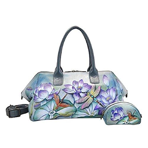 Handbemalte ANUSCHKA Handtasche Tasche Hobo Ledertasche Damentasche 571 TQP Hand Bag + Geldbörse (Anuschka Hobo)