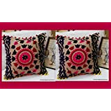 2 Pc Set Woolen Embroidered Handmade Pillows Cover Suzani Cushion Covers Christmas Gift, Gifts For Him Or Her Decorative Pillows Indian Art 16 X 16