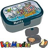 Lunchbox * Pirat Pit Planke Plus Wunschname * für Kinder von Lutz Mauder | Brotdose mit Namensdruck | Perfekt für Jungen | Vesperdose Brotzeitbox Brotzeit Schule Kindergarten (mit Namen)