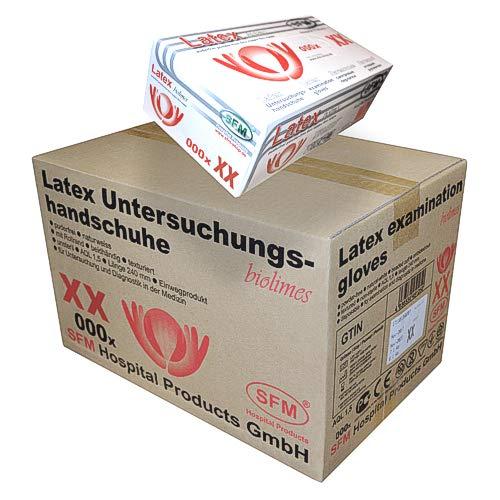SFM ® BIOLIMES Latex : XS, S, M, L, XL weiß puderfrei volltexturiert Einweghandschuhe Einmalhandschuhe Untersuchungshandschuhe Latexhandschuhe S (1000)