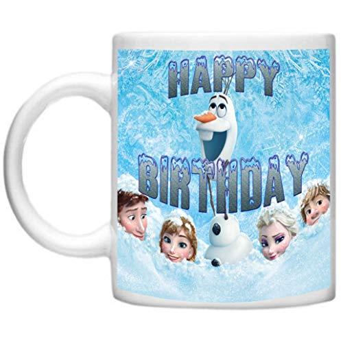 Happy Birthday Elsa Anna Olaf Printed On Microwave & Dishwasher Safe 11oz Mug/Cup (Happy Olaf Birthday)