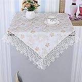 FaceToWind Tischdecke Spitze Seite Staub Tuch Hause Nachttisch Kühlschrank Abdeckung Tuch Gerät Top Staubschutz Tuch Gold Waschbecken rosa Blumendruck, 125x125cm