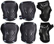 CoastaCloud 6pcs- rodilla cojines codo cojines muñeca guardias de almohadillas de protección adultos Niños Juventud protecciones conjunto rodillo en línea patinaje Ciclismo Ciclismo Scooter Skate montaña bicicleta extremo deporte