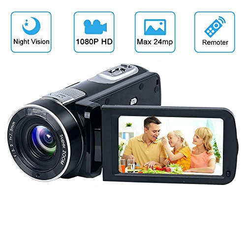 Videokamera Camcorder GOXMGO Full HD 1080p Kamera 24.0MP Digitalkamera Nachtsicht Vogging Kamera 18X Digitaler Zoom 3.0