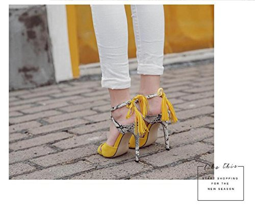 Beauqueen Limited Edition Cravatte alla caviglia Charming Matrimonio Peep Toe Tassels Sandali Decorazione Hollow Stiletto Heels Alto Casual Nightclub Bar Sandali Yellow