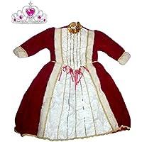 Costume de carnaval en chenille et satiné matelassé Queen Sovereign Empress avec couronne Taille. 3e pour filles 4–5ans (vérifier la mesure en cm)–Hllw