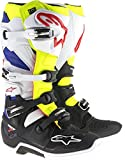 Alpinestars MX 2017 Boots Tech 7 White Yellow Flourescent Blue (EU 47/US 12, White)