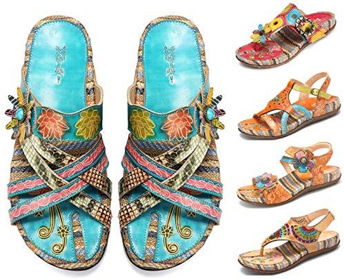 Camfosy Damen Leder Sandalen Vintage Stroh Sandale Flip Flops mit Einlegesohle Geflochtene Komfortable Flache Schuhe Urlaub Freizeit Mules 2019 Sommer