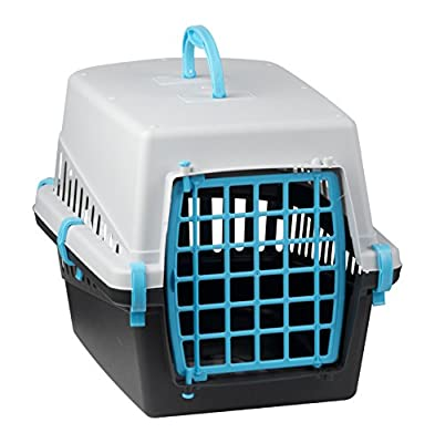 Pet Cat Dog Puppy Carrier Basket Cage Portable Travel Kennel Box with Door Black & Grey by EGT